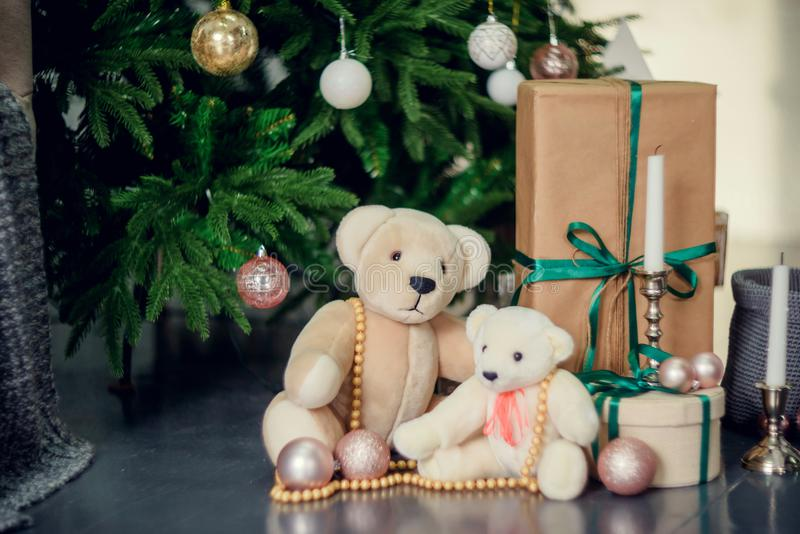 Presents under Christmas Tree in living room. Family Holiday New Year at Home stock photo