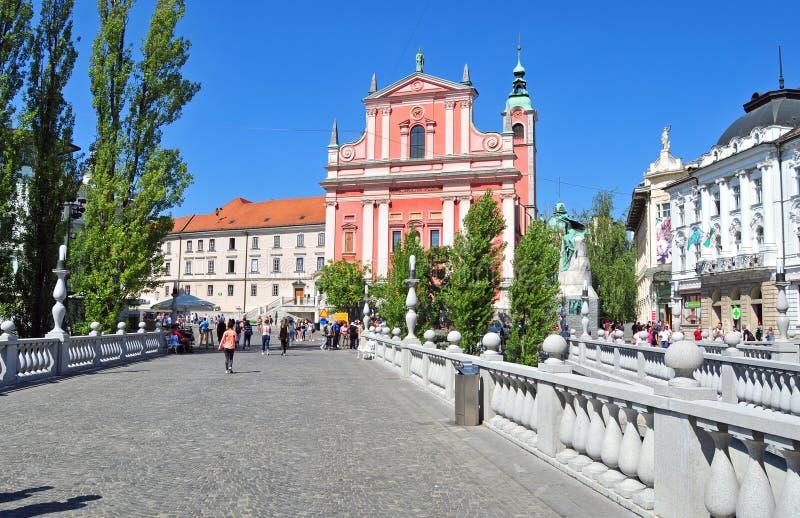 Preserens kwadrat i St Franciszkański kościół, Ljubljana, Slovenia obraz royalty free