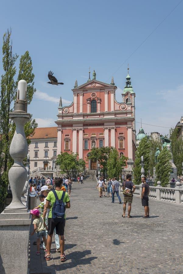 Preserenvierkant, Ljubljana, hoofdstad van Slovenië stock afbeelding