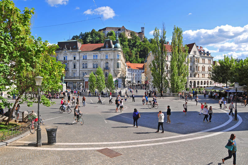 Presern kwadrat i Ljubljana kasztel obrazy stock