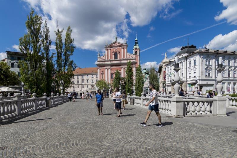 Presernov kwadrat Trzy mostu z kościół Annunciation w tle, Ljubljana, Slovenia obrazy royalty free