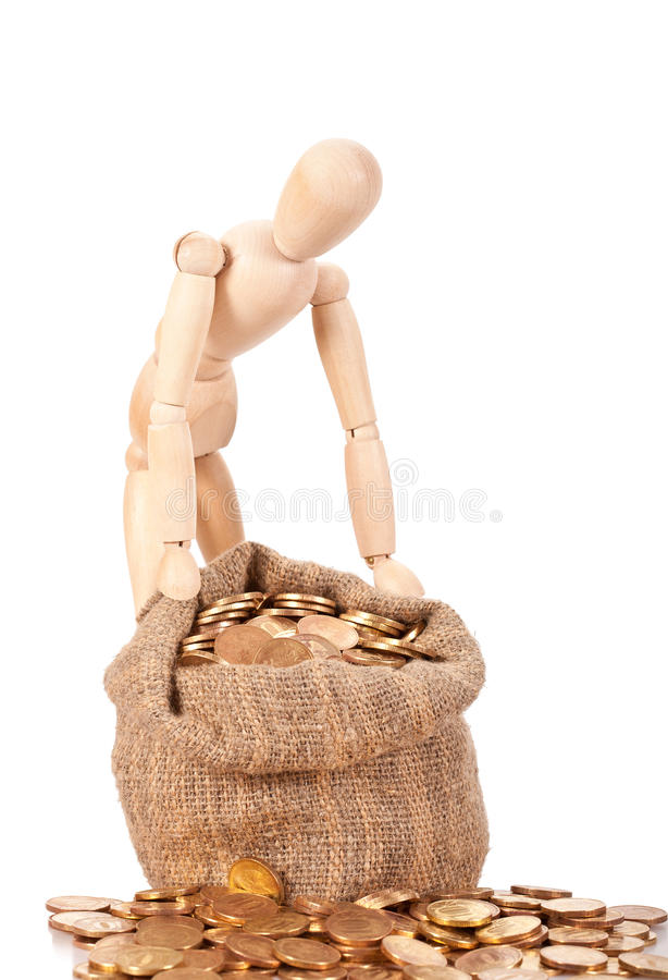 Preservation and augmentation of riches. Person costs near to a bag with money. Preservation and augmentation of riches stock photos