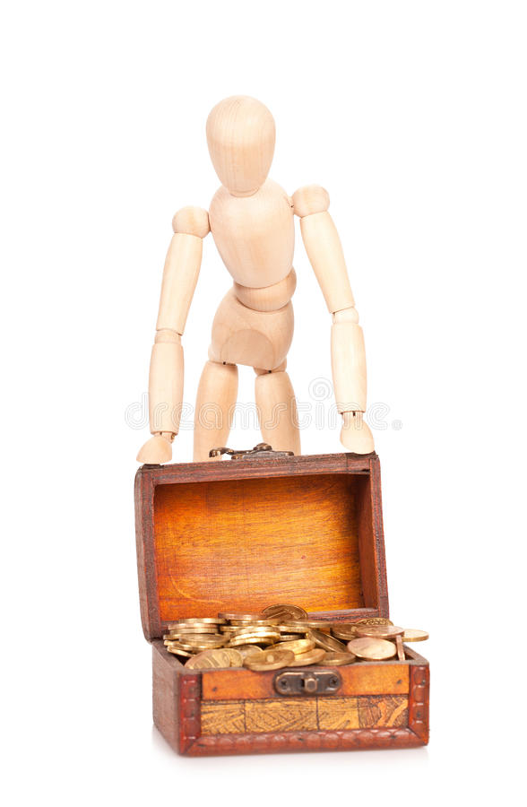 Preservation and riches augmentation. Person costs near to a chest with money. Preservation and riches augmentation stock photos