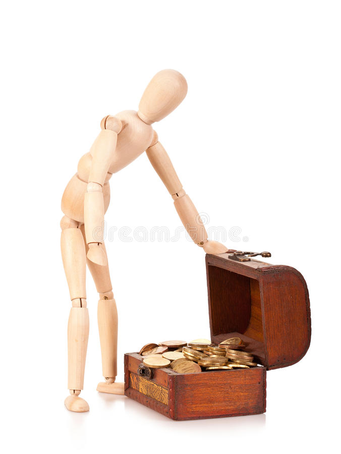 Preservation and riches augmentation. Person costs near to a chest with money. Preservation and riches augmentation royalty free stock images