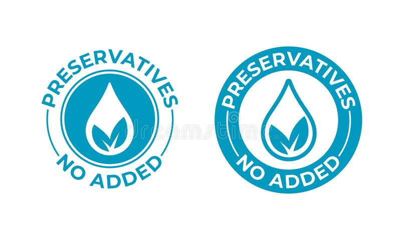 Preservatives no added vector leaf and drop icon. Preservatives free seal stamp, natural food package. Stamp stock illustration