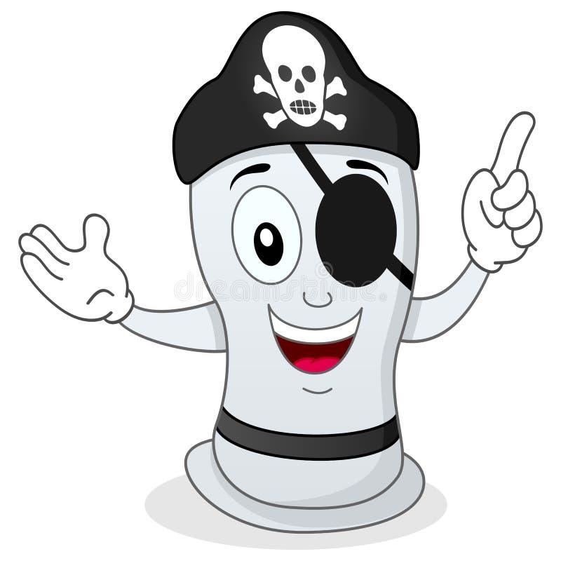 Preservativo engraçado do pirata com remendo do olho ilustração do vetor