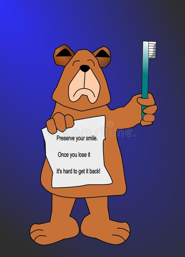 A Cartoon Bear Holding a Toothbrush royalty free stock photography