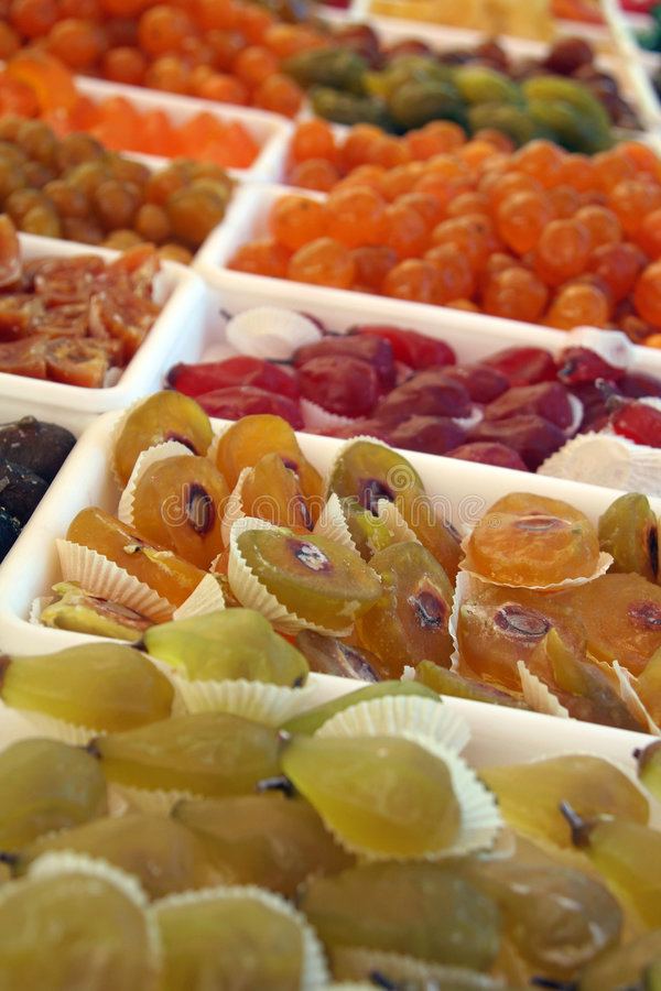 Preserved fruit market stand royalty free stock photos