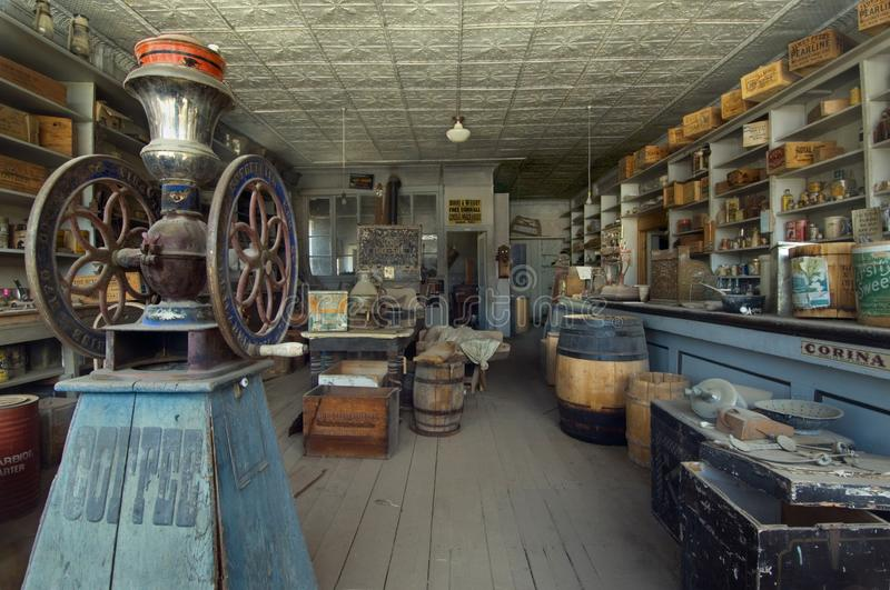 Preserved general store interior in ghost town Bodie, in Bodie State His. A preserved ghost town and a State Historic Park since 1962, Bodie once boasted a royalty free stock photos
