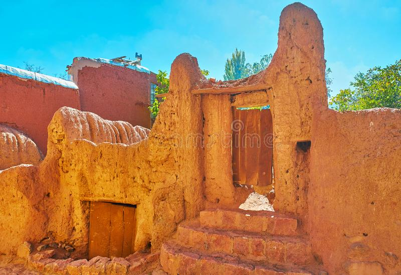 The medieval gate of red clay, Abyaneh royalty free stock photography