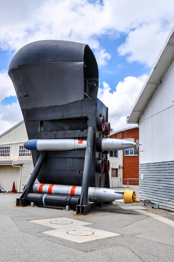Preserved Submarine Bow: Torpedoes and Sonar Dome. FREMANTLE,WA,AUSTRALIA-NOVEMBER 19,2015:Preserved Submarine bow with torpedoes, Maritime Museum outdoor stock photo