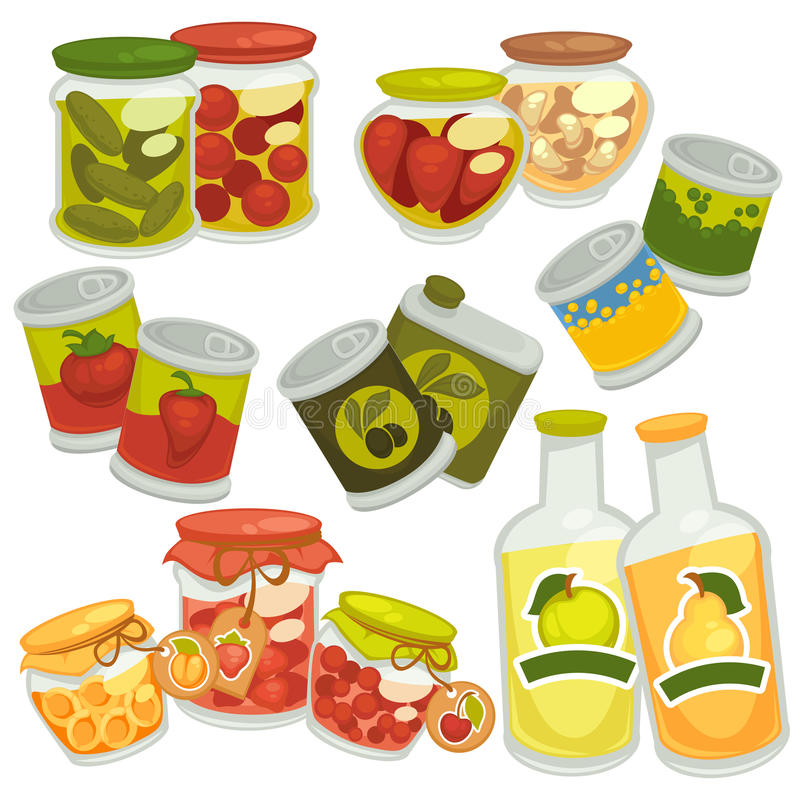 Preserves jam jars, juice bottles, pickles tin cans vector icons. Preserves food and pickles. Pickled tomatoes and cucumbers in glass jar pots, homemade berry royalty free illustration