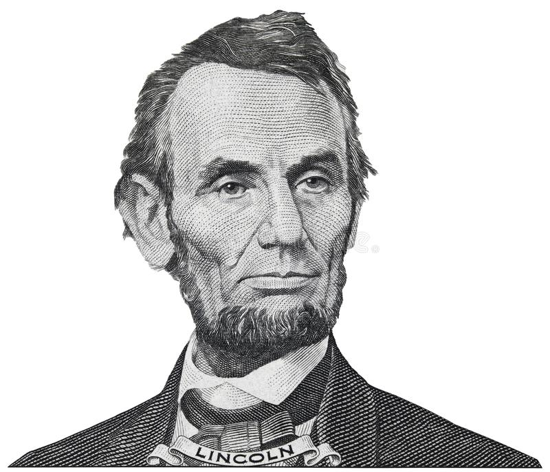 President Abraham Abe Lincoln face portrait on 5 dollar bill iso. Lated, five usd, US money closeup stock photos