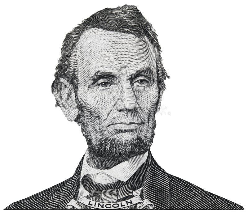 President Abraham Abe Lincoln face portrait on 5 dollar bill iso stock photos