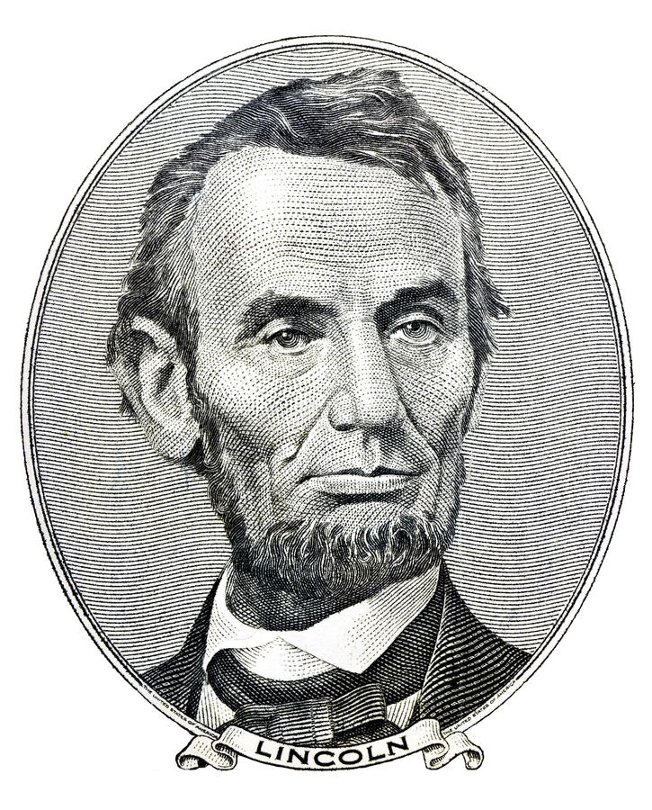 President Abraham Lincoln on five dollar bill royalty free stock photos