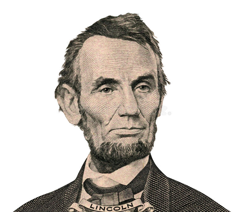 President Abraham Lincoln portret (het Knippen weg) royalty-vrije stock foto