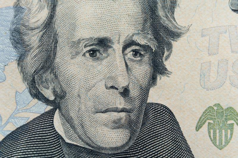 President Andrew Jackson`s face appears on the $20 bill. The first $20 bill was issued by the government in 1914 stock image