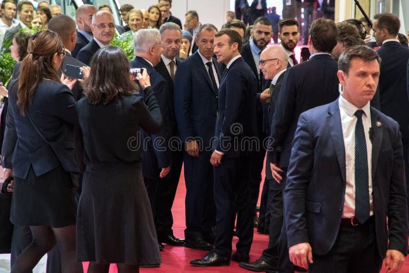 President av Frankrike Emmanuel Macron arkivfoto