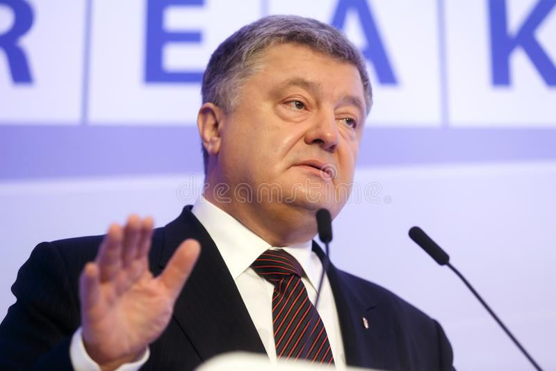 President av Ukraina Petro Poroshenko i Davos arkivfoton