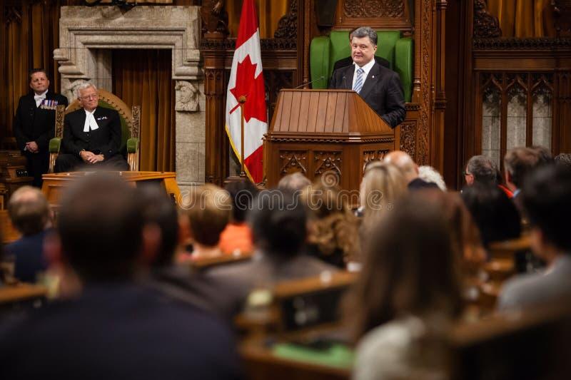 President av Ukraina Petro Poroshenko i Ottawa (Kanada) arkivfoton