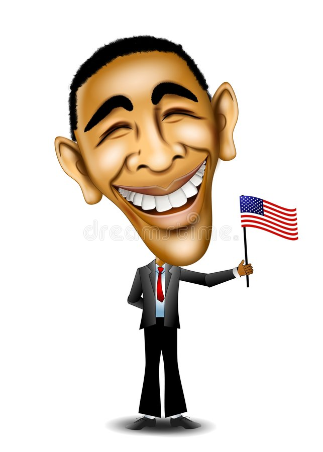 President Barack Obama. An illustration caricature of President Barack Obama standing and holding US Flag