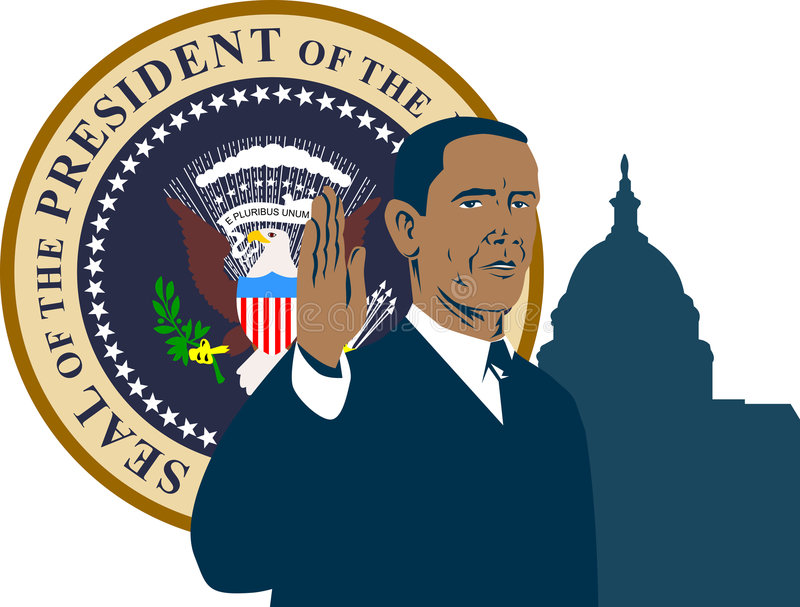 President Barack Obama. Vector art of American President Barack Obama's inauguration with the US Capitol building and presidential seal in the background