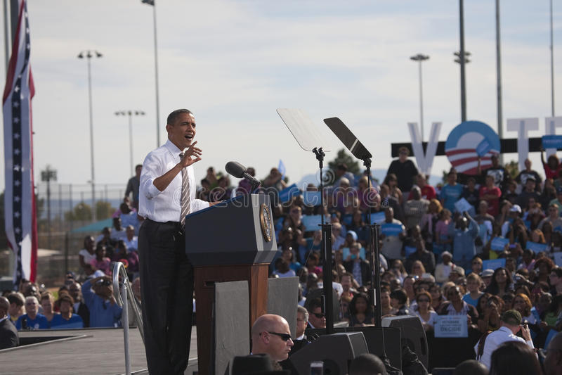 President Barack Obama appears at Presidential Campaign Rally,. November 1, 2012, at Cheyenne Sports Complex, North Las Vegas, Nevada stock photography