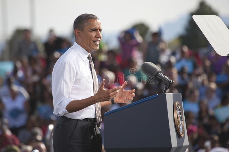 President Barack Obama. Appears at Presidential Campaign Rally, November 1, 2012, at Cheyenne Sports Complex, North Las Vegas, Nevada stock photography