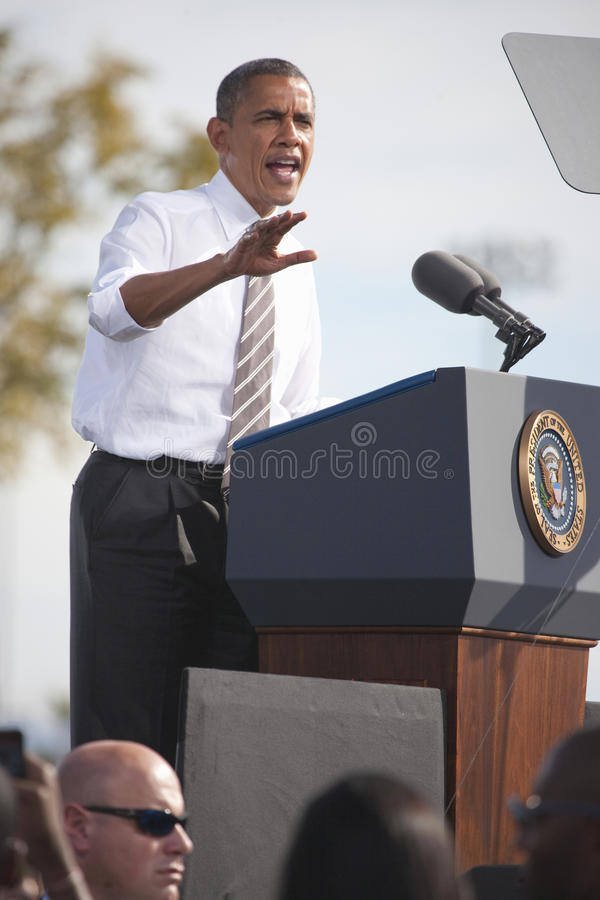 President Barack Obama. Appears at Presidential Campaign Rally, November 1, 2012, at Cheyenne Sports Complex, North Las Vegas, Nevada royalty free stock image