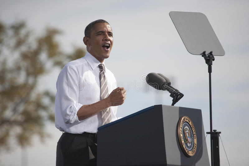 President Barack Obama. Appears at Presidential Campaign Rally, November 1, 2012, at Cheyenne Sports Complex, North Las Vegas, Nevada royalty free stock photography