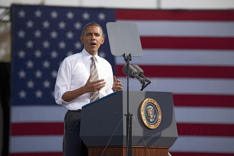 President Barack Obama. Appears at Presidential Campaign Rally, November 1, 2012, at Cheyenne Sports Complex, North Las Vegas, Nevada stock photo