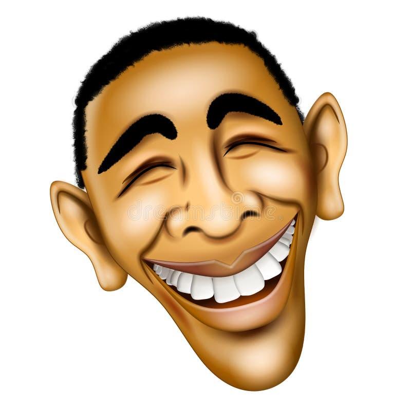 President Barack Obama Face. An illustration caricature of Barack Obama with his winning smile