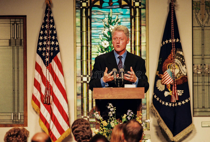 President Bill Clinton. Former President Bill Clinton holds a press conference. (Image taken from color negative royalty free stock photo