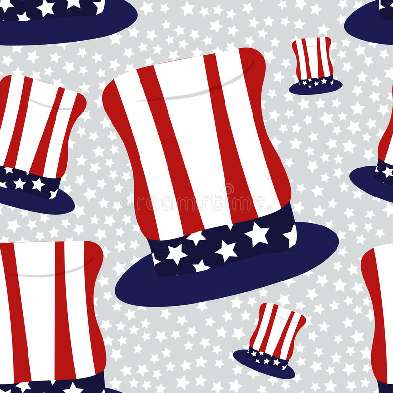 President Day Seamless with Hats. Abstract American President Day Seamless Pattern with Hats coloured as Flag and Stars . Vector Illustration for Celebration stock illustration