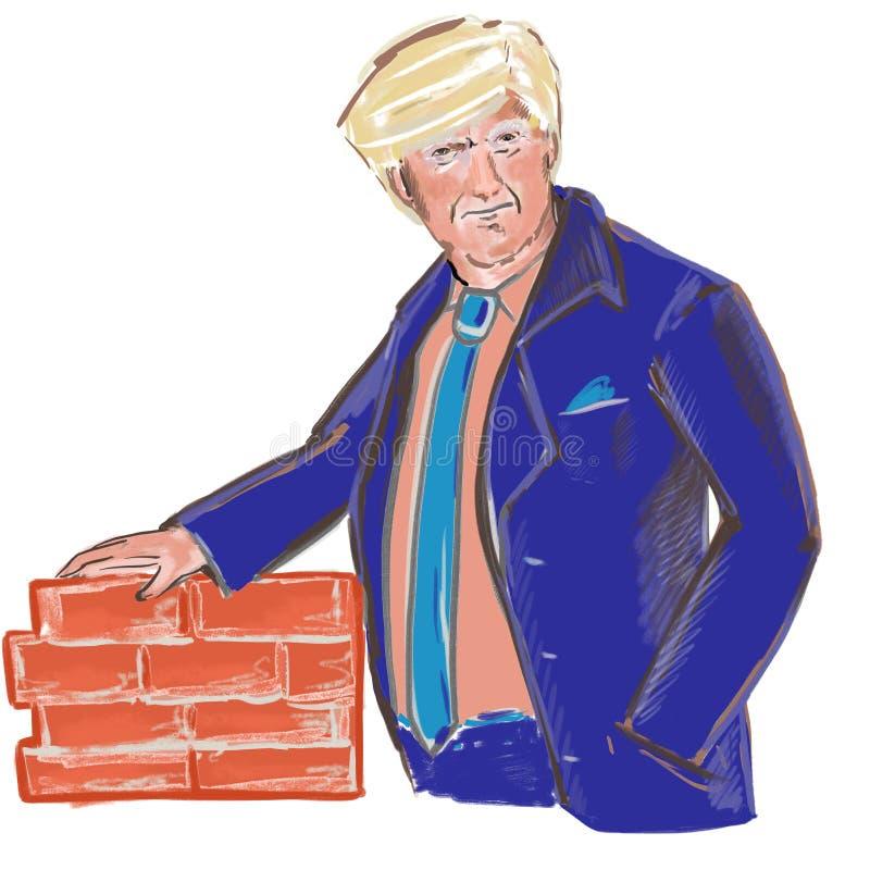 President Donald Trump build a wall vector illustration