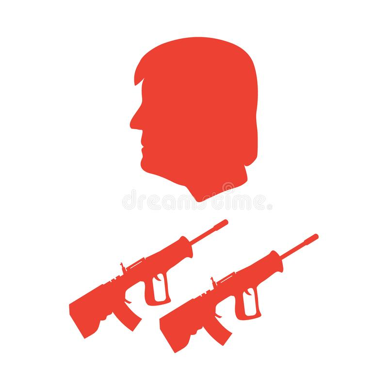 President Donald Trump and rifles. Design for banner and print stock illustration