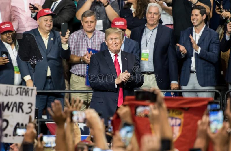 President Donald Trump. Tampa, Florida – July 31, 2018: President Donald Trump addresses his supporters at a rally in Tampa, Florida, on July 31, 2018 stock photos