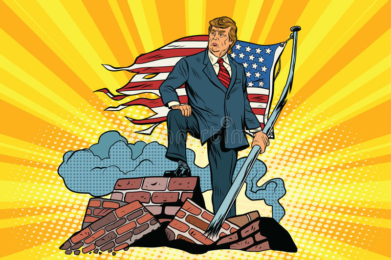 President Donald trump with USA flag, on the ruins stock illustration