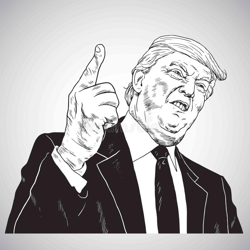 President Donald Trump, You`re Fired! Vector Illustration Drawing Vector. October 31, 2017 stock illustration