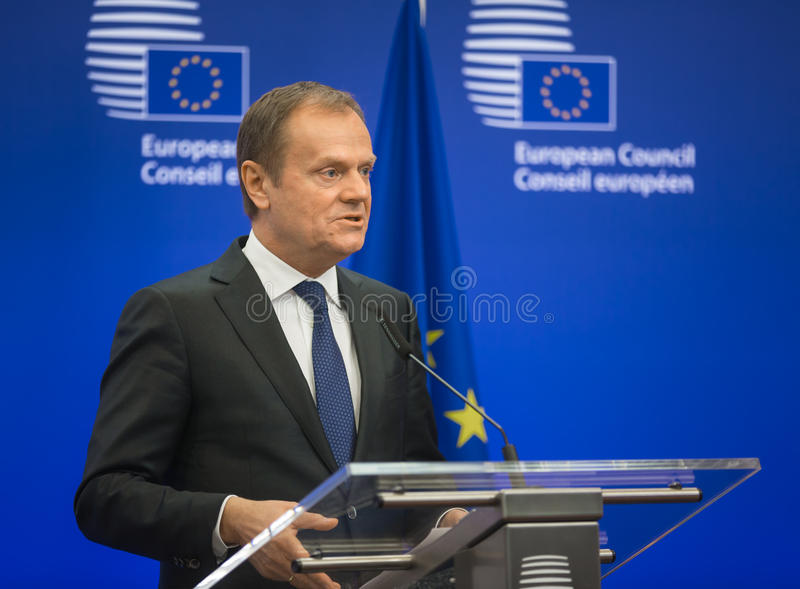 President of the European Council Donald Tusk. BRUSSELS, BELGIUM - Mar 17, 2016: President of the European Council Donald Tusk during a joint press conference royalty free stock image