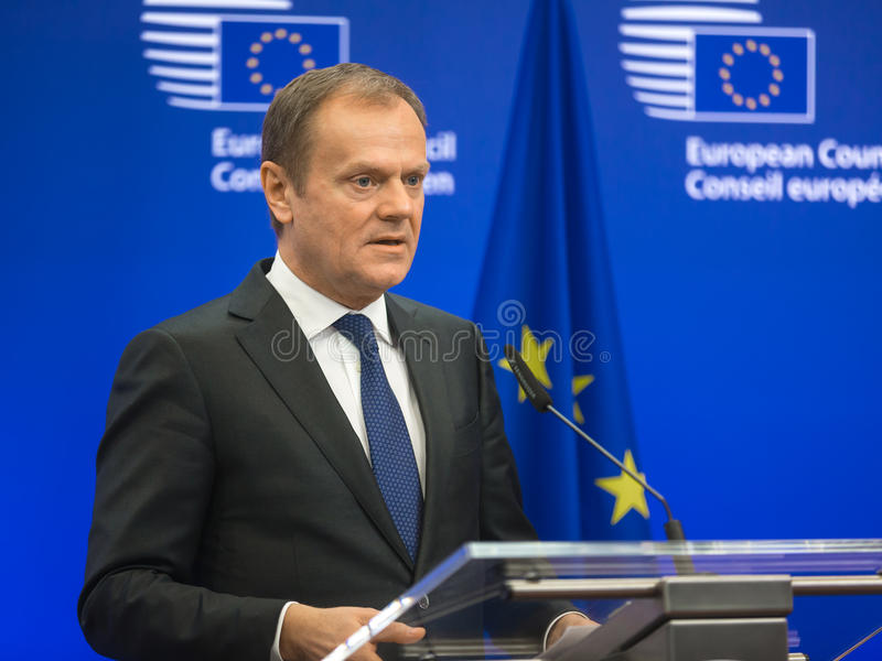 President of the European Council Donald Tusk. BRUSSELS, BELGIUM - Mar 17, 2016: President of the European Council Donald Tusk during a joint press conference stock photography