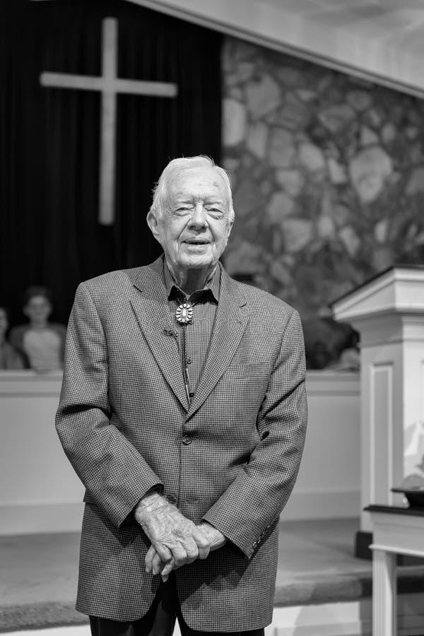 President Jimmy Carter. Teaching adult Sunday School at the Maranatha Baptist Church in Plains, Georgia on November 13, 2016 stock photos