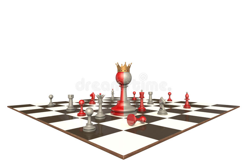 The president of a large company (chess metaphor). Chess drama on a white background isolation. In the center of a two-faced king royalty free illustration