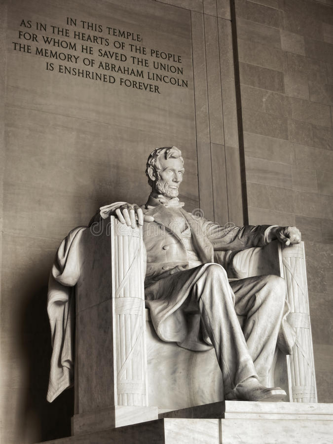 President Lincoln National Memorial Washington DC. United States president Abraham Lincoln National Memorial landmark marble sculpture and commemorative historic stock photo