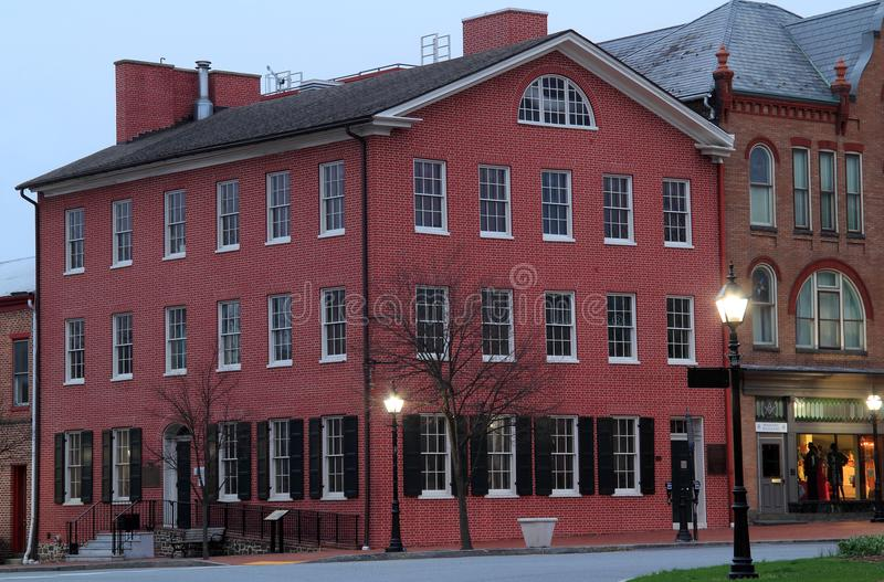 David Wills House in Gettysburg. President Lincoln was the most prominent guest at the David Wills House, which he used to prepare his eternal Gettysburg Address stock photography