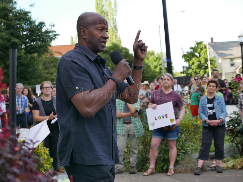 President of local NAACP addresses crowd at vigil against Charlottesville hate rally royalty free stock images