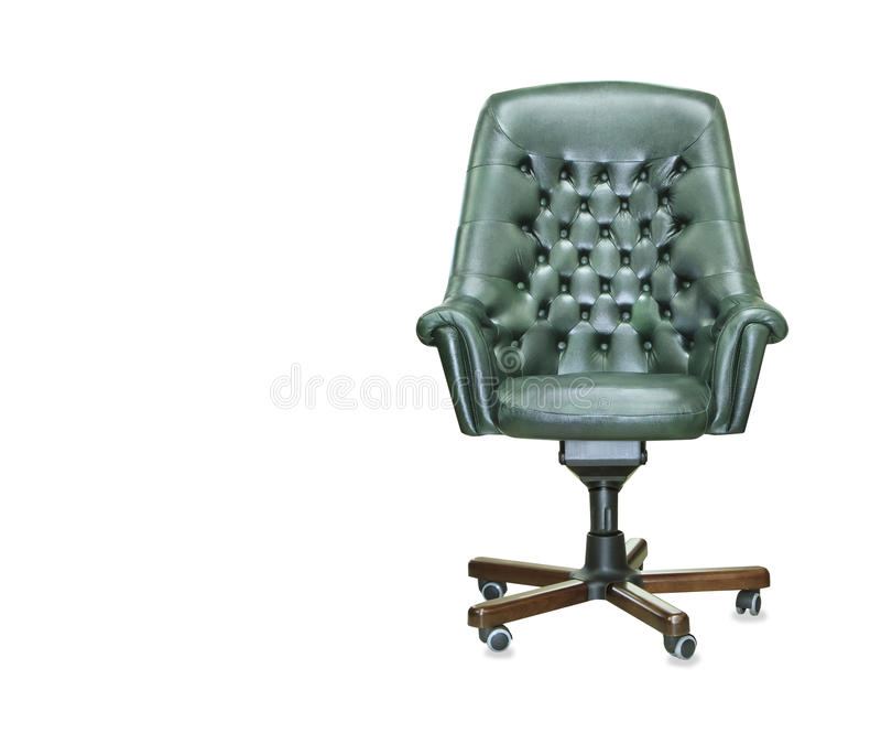President office chair from green leather. Isolated stock photo