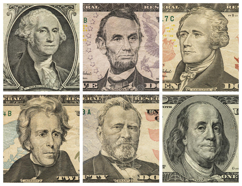 presidents on dollar bills and coins