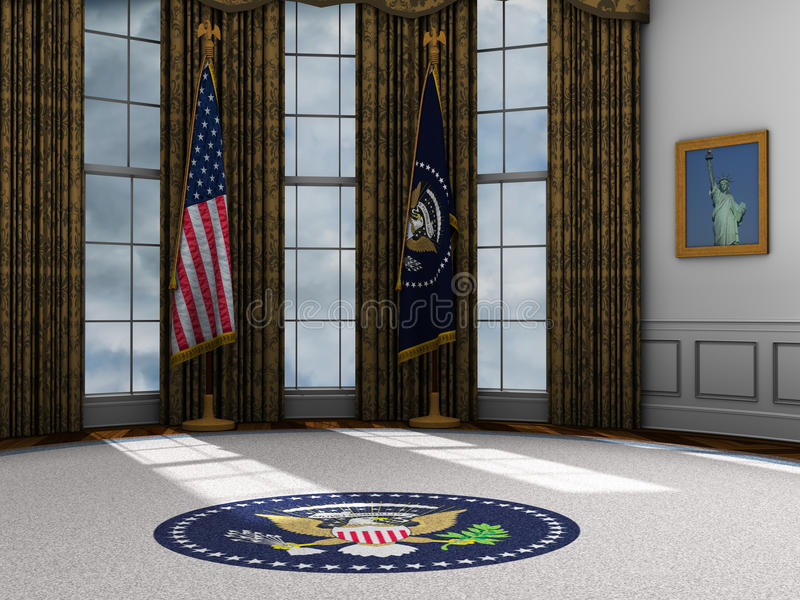 President, Presidential Oval Office, White House. Illustration of the presidential oval office at the White House. The president and all modern presidents have royalty free illustration