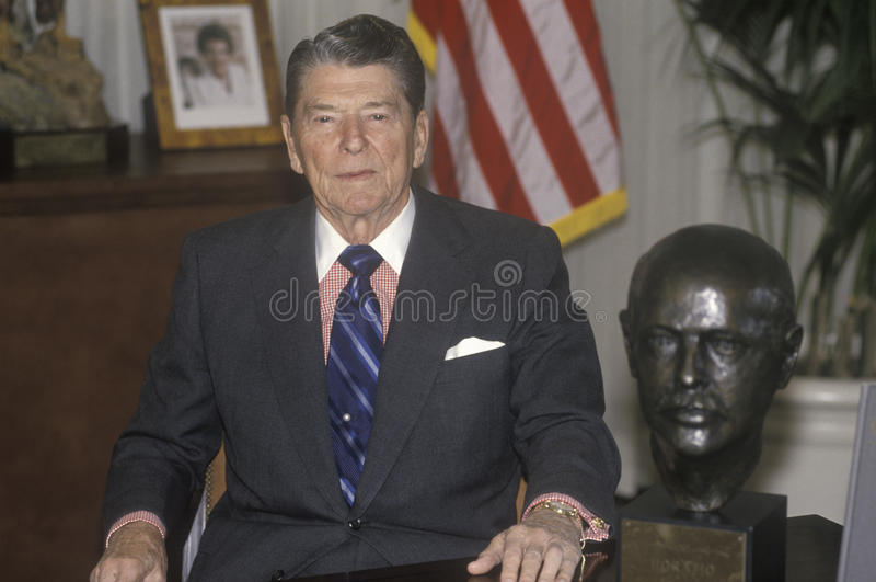 President Reagan. Presents an introduction for the Horatio Alger Association stock photo